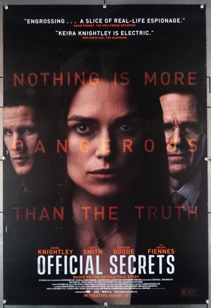 OFFICIAL SECRETS (2019) 29013 Diamond Films Original U.S. One-Sheet Poster (27x41) Rolled  Very Good Condition