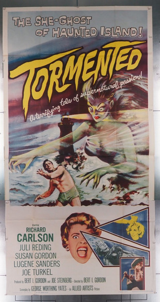 TORMENTED (1960) 10809 Original Allied Artists U.S. Three-Sheet Poster (41x81) Folded  Very Good Plus To Fine Condition