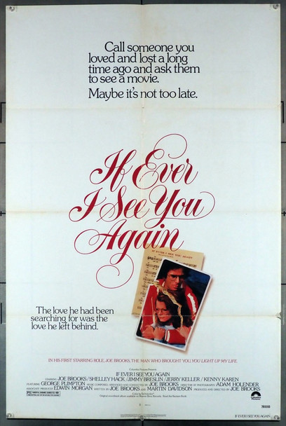 IF EVER I SEE YOU AGAIN (1978) 3672 Columbia PIctures Original U.S. One-Sheet Poster (27x41) Folded  Very Good Plus to Fine Condition