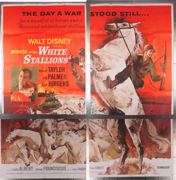 MIRACLE OF THE WHITE STALLIONS (1962) 17664   Walt Disney Company Original U.S. Six Sheet Poster (84x84) Good Condition  Folded  Not assembled
