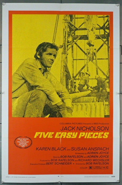 FIVE EASY PIECES (1970) 15548 Columbia PIctures Original U.S. One-Sheet Poster (27x41) Folded  Very Fine Plus Condition