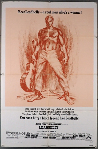 LEADBELLY (1975) 3744  Roger Mosley Movie Poster Paramount Pictures Original U.S. One-Sheet Poster (27x41) Folded  Very Good Plus Condition