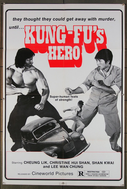 KUNG FU'S HERO (1973) 27414  Martial Arts Movie Poster dates from 1980 Original U.S. One-Sheet Poster (27x41) Folded  Fine Plus Condition