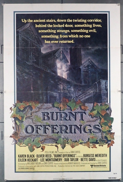 BURNT OFFERINGS (1976) 1198 United Artists Original U.S. Style B One-Sheet Poster (27x41) Folded  Fine Plus Condition