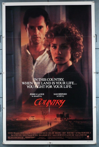 COUNTRY (1984) 1217   Jessica Lange   Sam Shepherd  Movie Poster Touchstone Pictures Original U.S. One-Sheet Poster (27x41) Folded  Very Fine Condition