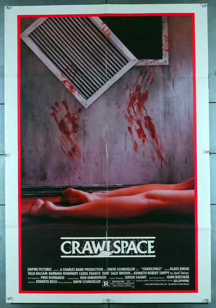 CRAWLSPACE (1986) 1218 Empire PIctures Original U.S. 30x40 Poster  Folded  Very Fine Condition