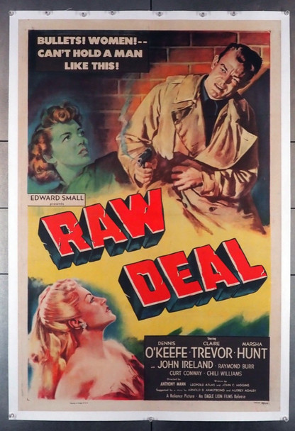 RAW DEAL (1948) 15650 Original U.S. One-Sheet Poster (27x41) Linen Backed  Very Fine Condition