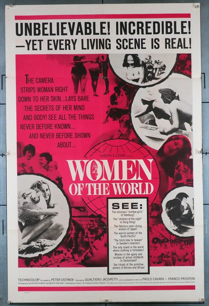 DONNA NEL MONDO, LA  (1963) 11984   WOMEN OF THE WORLD Movie Poster Original U.S. One-Sheet Poster (27x41) Folded  Very Good Condition  Theater-Used
