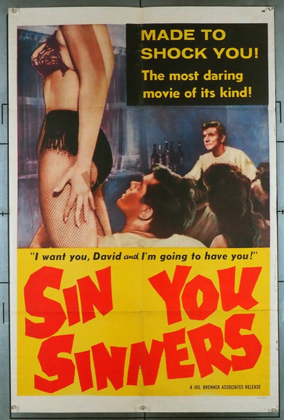 SIN, YOU SINNERS (1963) 12002    Sexploitation Movie Poster	 U.S. One-Sheet Poster (27x41) Folded  Good to Very Good Condition