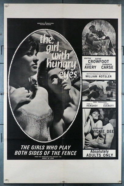 GIRL WITH THE HUNGRY EYES, THE (1967) 12018   Sexploitation Movie Poster Original U.S. One-Sheet Poster (27x41) Folded  Fine Plus to Very Fine Condition