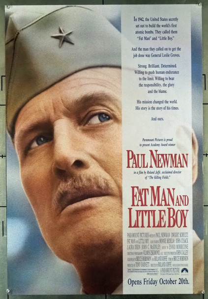 FAT MAN AND LITTLE BOY (1989) 3452   Paul Newman Original U.S. One-Sheet Poster (27x40) Single Sided  Rolled  Fine Plus Condition