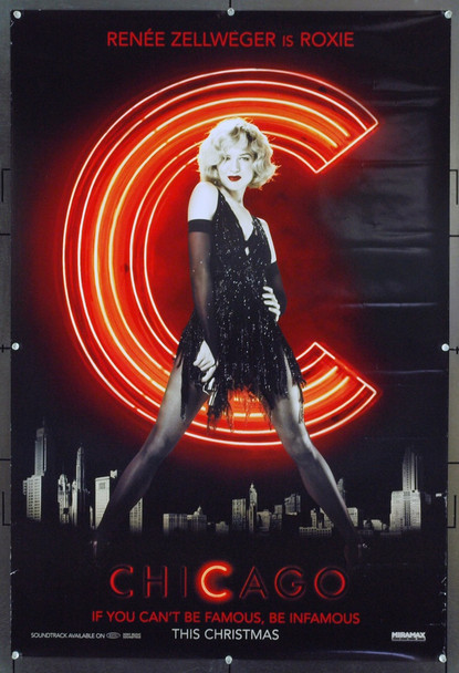 CHICAGO (2002) 20736   Advance   Rene Zellweger Movie Poster   Original U.S. One-Sheet Poster (27x40 Double-sided Rene Zellweger Advance Poster  Very Good Plus Condition