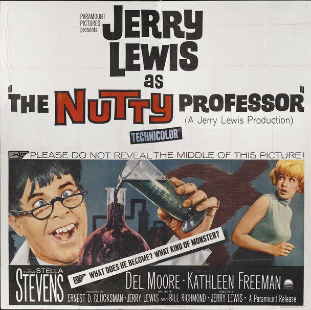 NUTTY PROFESSOR, THE (1963) 9855   Jerry Lewis Masterpiece Movie Poster  Six-Sheet!! Original U.S. Six-Sheet Poster (81x81)  Folded  Very Fine Plus Condition  Never Used
