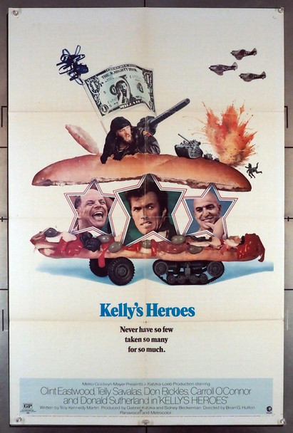 KELLY'S HEROES (1970) 8364   Clint Eastwood Movie Poster Original U.S. Style B One-Sheet Poster (27x41) Folded  Theater-Used  Very Good Plus Condition