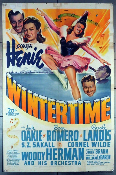 WINTERTIME (1943) 8360    Sonja Henie Movie Poster Original U.S. One-Sheet Poster (27x41) Folded  Fair to Good Condition Only