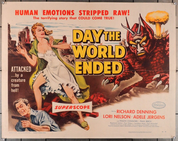 DAY THE WORLD ENDED   (1955) 29070  First Roger Corman Movie  Half-Sheet Poster Original U.S. Half-Sheet Poster (22x28) Folded,  Very Good Plus to Fine Condition