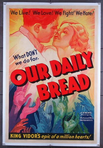 OUR DAILY BREAD (1934) 23071   King Vidor Movie Poster Original U.S. One-Sheet Poster (27x41) Linen-Backed  Fine Plus Condition