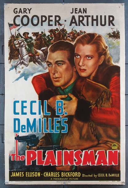 PLAINSMAN, THE (1936) 21751   Gary Cooper  Jean Arthur Movie Poster Original U.S. One-Sheet Poster (27x41) LInen Backed  Re-release of 1946