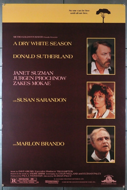 DRY WHITE SEASON, A (1989) 3436   Marlon Brando  Donald Sutherland  Susan Sarandon Movie Poster Original U.S. One-Sheet Poster (27x40) Rolled  Fine Plus Condition