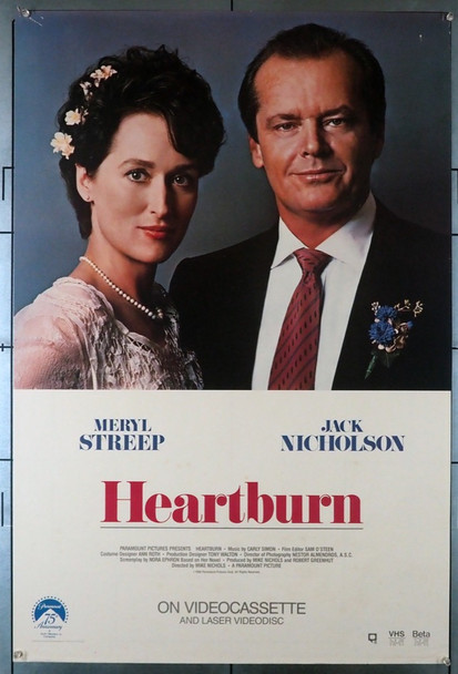 HEARTBURN (1986) 620  JACK NICHOLSON   MERYL STREEP  Video Release Poster Paramount Pictures Original Poster for the Release on VHS Video  Rolled