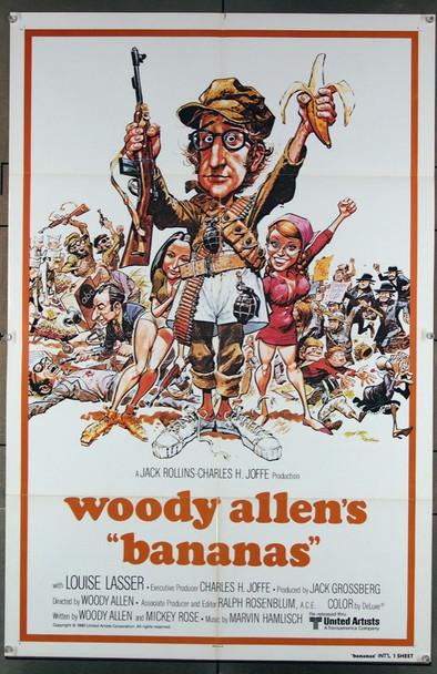 BANANAS (1971) 2087   Woody Allen Movie Poster  Art by Jack Davis Original 27x41 Poster  One-Sheet International Style