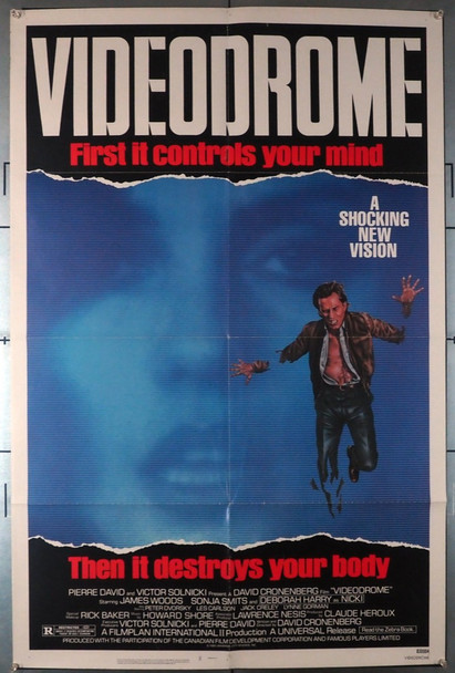 VIDEODROME (1983) 7929      David Cronenberg Masterpiece  Movie Poster Original U.S. One-Sheet Poster (27x41)  Folded  Very Fine Condition