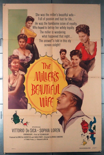 BELLA MUGNAIA, LA (1957) 4135   (THE MILLER'S BEAUTIFUL WIFE)  Sophia Loren Movie Poster Original U.S. One-Sheet Poster (27x41) Folded  Average Used Condition