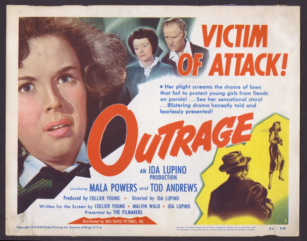OUTRAGE (1950) 8951   Mala Powers Movie Poster  Directed by Ida Lupino RKO Pictures Original U.S. Title Card (11x14)  Good Condition