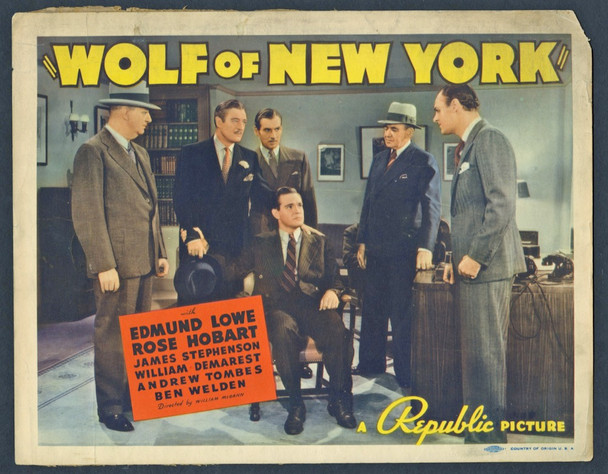 WOLF OF NEW YORK (1940) 8949 Original U.S. Title Lobby Card  (11x14)  Average Theater-Used Condition