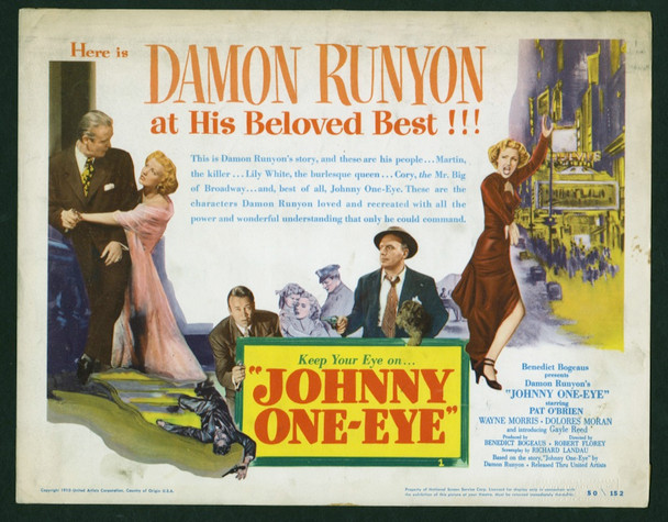 JOHNNY ONE-EYE (1950) 8952   Pat O'Brien   Dolores Moran Title Lobby Card Original U.S. Title Lobby Card (11x14)  Theater Used  Average Used Condition