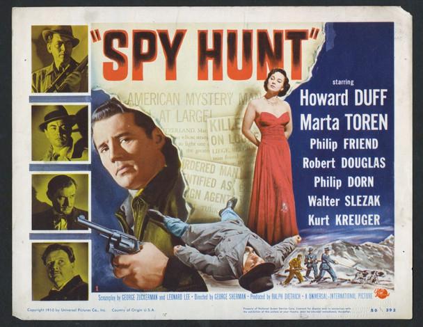 SPY HUNT (1950) 8955   Howard Duff  Marta Toren Title Card Original U.S. Title Lobby Card (11x14)  Very Good Condition