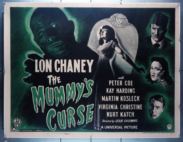 MUMMY'S CURSE, THE (1944) 16325   Lon Chaney, Jr.  BRITISH QUAD Movie Poster  Universal Horror Original British 30x40 (Quad) Poster  Linen Backed  Very Fine