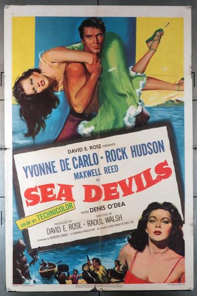 SEA DEVILS (1953) 11437   Yvonne DeCarlo   Rock Hudson Movie Poster Original U.S. One-Sheet Poster (27x41)  Folded  Very Good Plus Condition