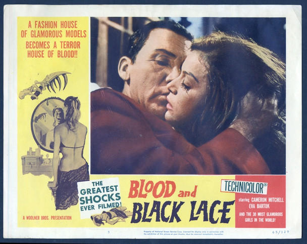 BLOOD AND BLACK LACE (1965) 28100   Cameron Mitchell   Eva Bartok  Lobby Card Original U.S. Scene Lobby Card (11x14)  Very Good Plus Condition  Theater-Used
