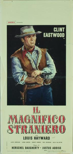 MAGNIFICO EXTRANJERO, EL (1967) 7780   Clint Eastwood Movie Poster Original Italian Locandina (13x27). Folded. Fine Condition.