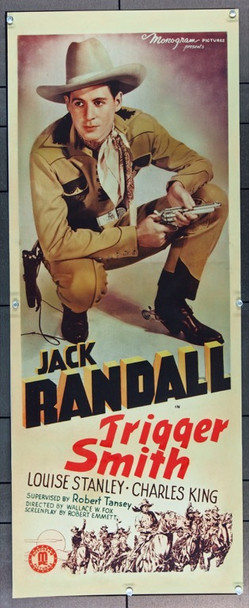 TRIGGER SMITH (1939) 25173   Jack Randall Cowboy Movie Poster Original Monogram Studio Insert Poster  14x36  Paper-Backed  Fine Condition