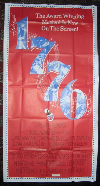 1776 (1972) 5640   Movie Poster Columbia Pictures Original Three Sheet  Poster  41x81  Folded  Very Fine
