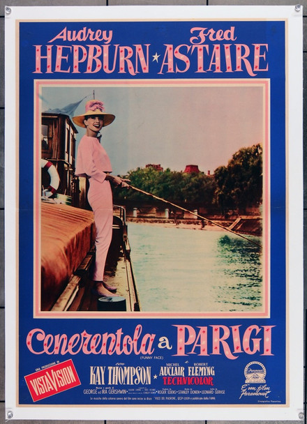 FUNNY FACE (1957) 7964  Audrey Hepburn Italian Film Poster Paramount Pictures Original Italian PhotoBusta (27x19) Linen Backed