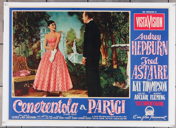 FUNNY FACE (1957) 7966  Audrey Hepburn  Fred Astaire  Italian Film Poster Original Paramount Pictures Italian PhotoBusta (27x19) Linen Backed  Fine Plus Condition