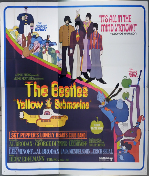 YELLOW SUBMARINE (1968) 14352   Beatles Movie Poster United Artists Original U.S. Six Sheet Poster (81x81) Folded  Very Fine Condition