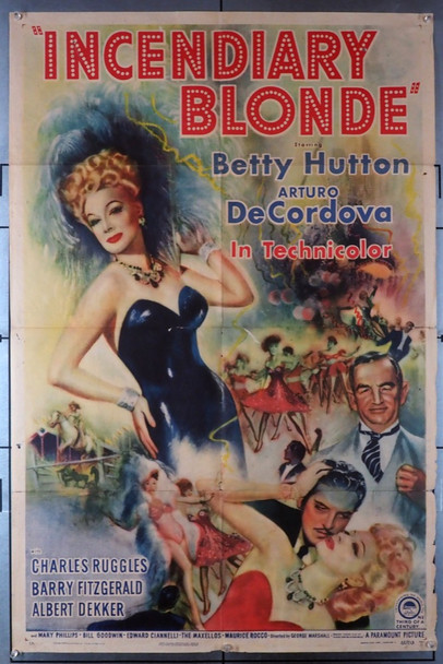 INCENDIARY BLONDE (1945) 16338   Betty Hutton Movie Poster Original U.S. One-Sheet Poster (27x41)  Folded  Very Good Plus Condition
