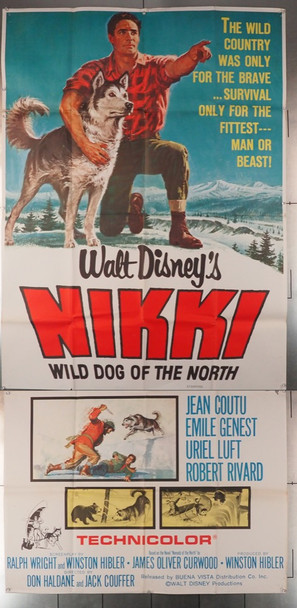 NIKKI, WILD DOG OF THE NORTH (1961) 12876  James Oliver Curwood and MALAMUTE DOG Movie Poster Original U.S. Three-Sheet Poster (41x81)  Theater-Used  Average Used Condition