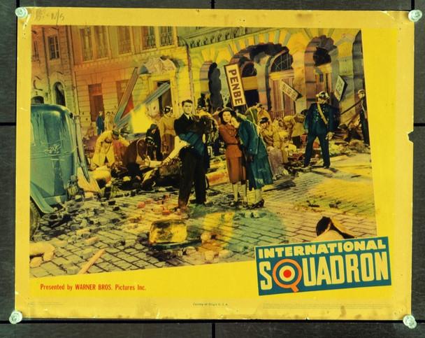 INTERNATIONAL SQUADRON (1941) 2652   Ronald Reagan Lobby Card Original Warner Brothers Scene Lobby Card (11x14).  Linen-finish.  Good Condition.