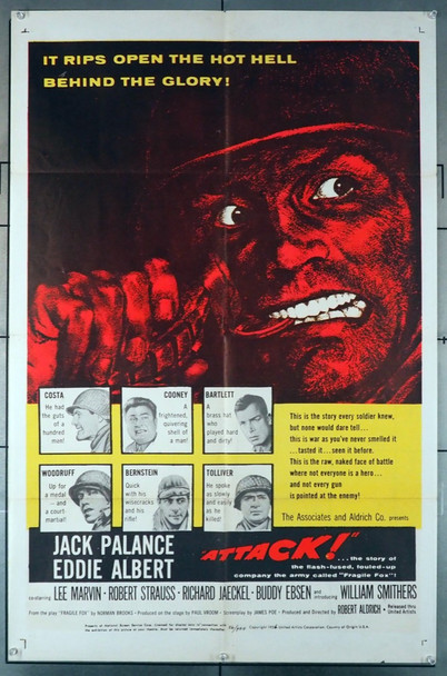 ATTACK! (1956) 8603    Jack Palance   Eddie Albert  Movie Poster Original U.S. One-Sheet Poster (27x41) Folded   Very Good Plus to Fine Condition