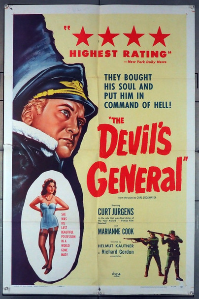 DEVIL'S GENERAL, THE (1957) 8599 Original U.S. One-Sheet Poster (27x41) Folded  Very Good Plus Condition