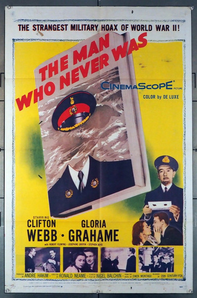 MAN WHO NEVER WAS, THE (1956) 8601  Ronald Neame Film Poster Original U.S. One-Sheet Poster (27x41) Folded  Average Used Condition