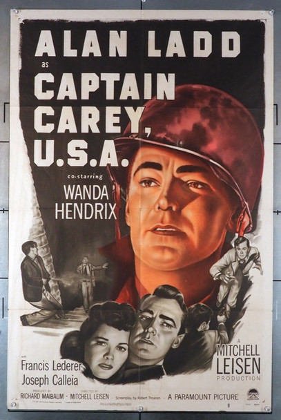 CAPTAIN CAREY, U.S.A. (1950) 8602    Alan Ladd Movie Poster Original U.S. One-Sheet Poster (27x41) Folded  Fine Plus Condition