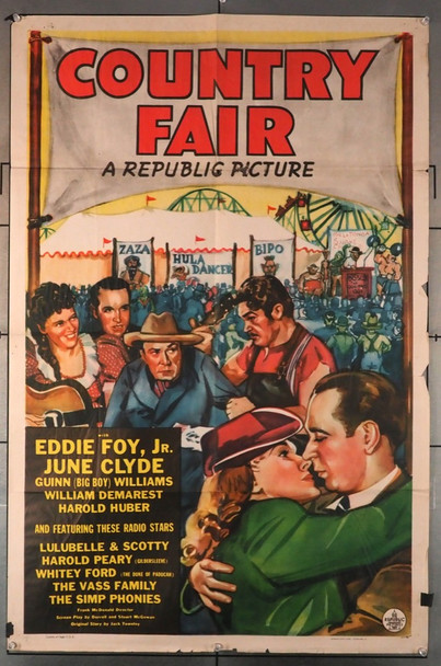 COUNTRY FAIR (1941) 8604   Americana Movie Poster   William Demarest   June Clyde Original U.S. One-Sheet Poster (27x41) Folded  Good Condition  Average Used
