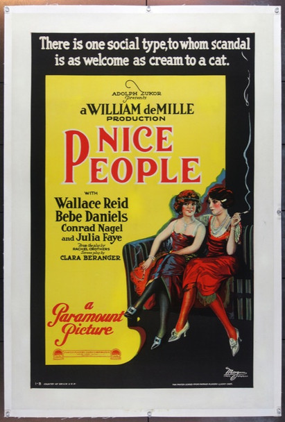 NICE PEOPLE (1922) 23396   Bebe Daniels Movie Poster Original U.S. One-Sheet Poster (27x41) Linen-Backed  Fine Plusf Condition