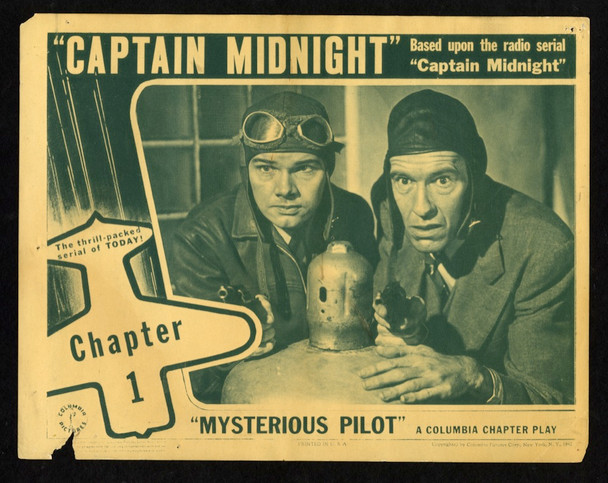 CAPTAIN MIDNIGHT (1942) 9284   Dave O'Brien   Guy Wilkerson  Movie Poster Original U.S. Lobby Card (11x14) Average Used Condition